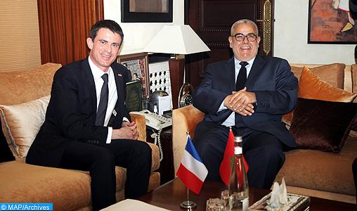 Le Chef du Gouvernement, Abdelilah Benkirane, s'entretient jeudi (09/04/15) à Rabat,  avec le Premier ministre français, M. Manuel Valls.